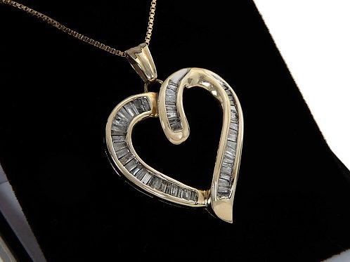 Yellow Gold Large Open Heart Diamond Pendant & Chain 1ct