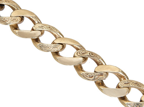 9ct Gold Plain and Patterned Curb Chain 120.4g