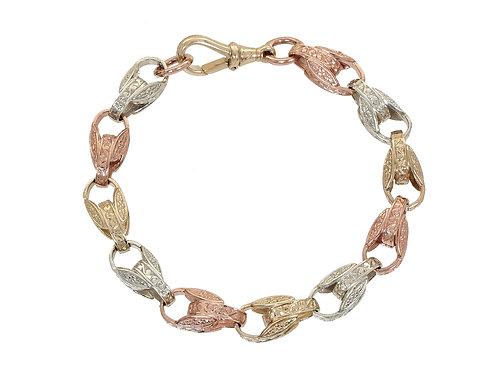 9ct Tri-Gold Patterned Tulip Bracelet 29.6g