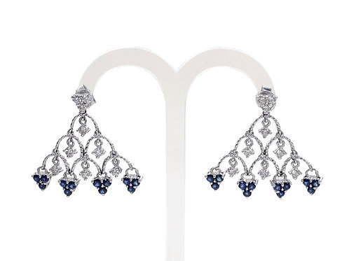 18ct White Gold Vintage Diamond & Sapphire Chandelier Earrings