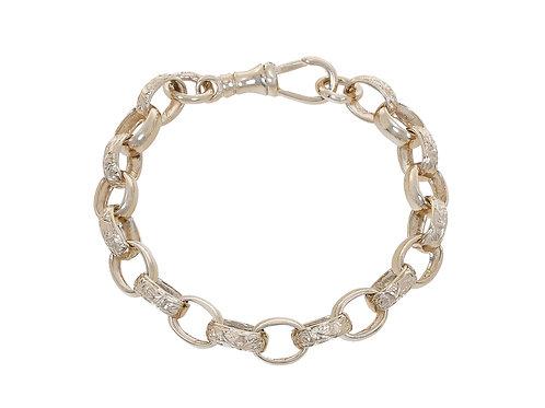 9ct Childrens Plain & Patterned Oval Belcher Bracelet 14.3g