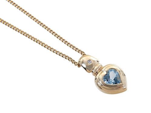 9ct Yellow Gold Diamond & Topaz Pendant & Chain