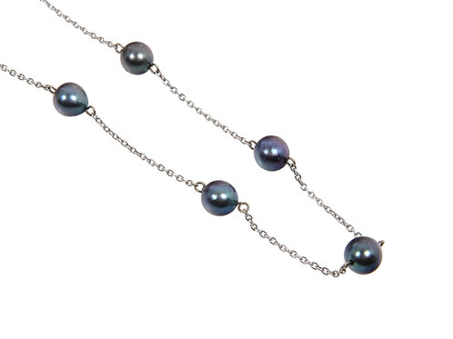 14ct White Gold Long Black Pearl Necklace