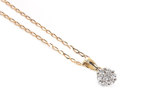 18ct Yellow Gold Diamond Cluster Pendant with 9ct Chain