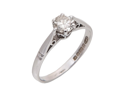 18ct White Gold Diamond Solitaire Ring 0.39ct