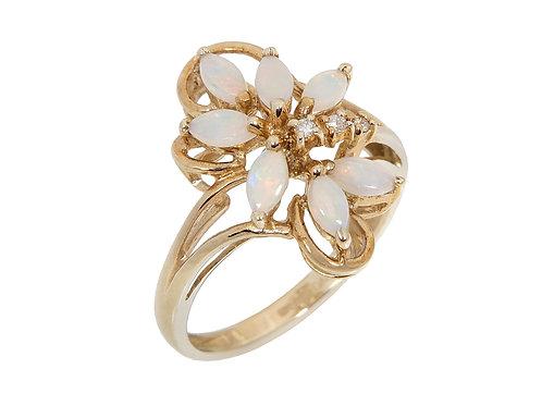 9ct Yellow Gold Opal & Diamond Dress Ring