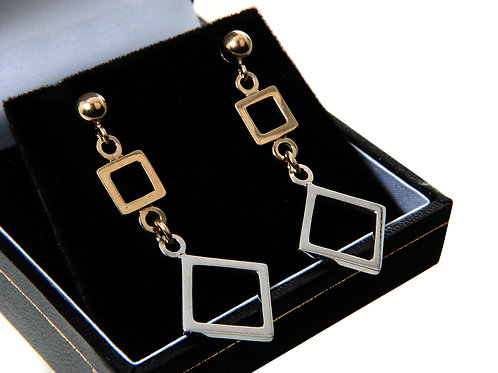 9ct yellow and White Gold Contemporary Earrings