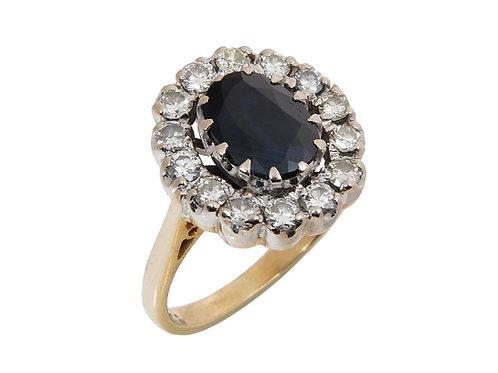 Vintage 18ct Yellow Gold Sapphire & Diamond Dress Ring
