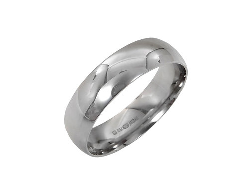 18ct White Gold Gents Wedding Ring Uk Size U Width 5mm