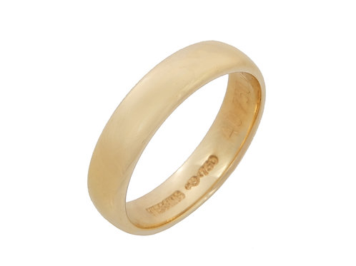 18ct Yellow Gold Wedding Band 4.4mm Uk Size m.1/2