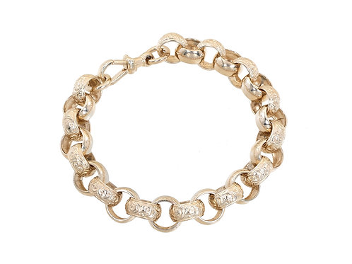 9ct Yellow Gold Plain & Patterned Belcher Bracelet 53.6g