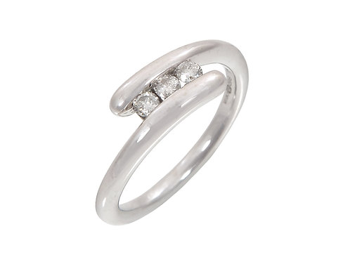 18ct White Gold Contemporary Diamond Ring 0.15ct