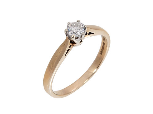 9ct Yellow Gold Diamond Solitaire Ring 0.33ct