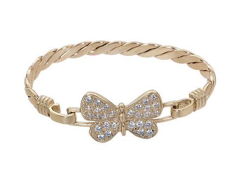 9ct Gold Children's CZ Butterfly Bangle 14.3g