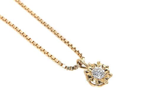 18ct Yellow Gold Diamond Solitaire Pendant & Chain