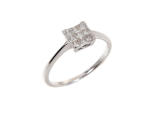 9ct White Gold Diamond Cluster Ring 0.40ct