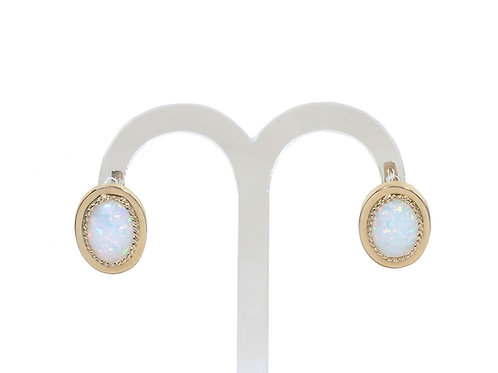 14ct Yellow Gold Opal Earrings