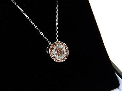 9ct White Gold White & Cognac Diamond Pendant & Chain