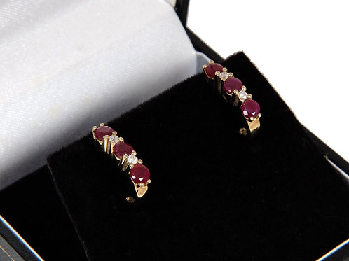 14ct Yellow Gold Ruby & Diamond Half Hoop Earrings