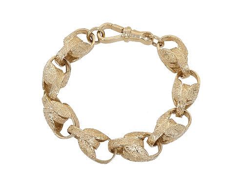9ct Gold Patterned Tulip Bracelet 69.2g