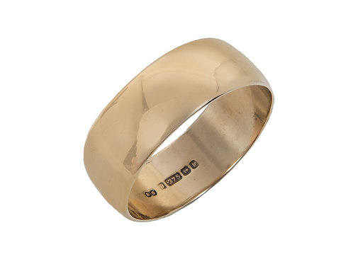 9ct Yellow Gold Wedding Ring Uk Size T Width 8mm