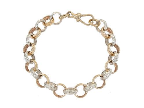 9ct Bi-Gold Plain and Patterned Belcher Bracelet 32.2g