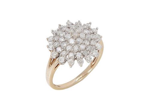 9ct Yellow Gold Diamond Snow Flake Ring 1.00ct