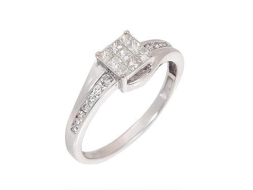 18ct White Gold Diamond Cluster Ring 0.50ct
