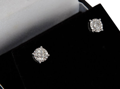 9ct White Gold Diamond Solitaire Earrings 0.52ct