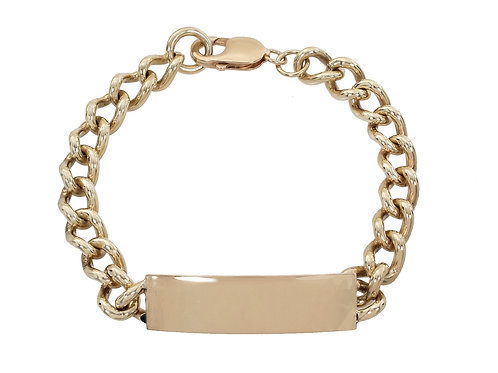 9ct Gold Rounded Curb ID Bracelet 43.5g