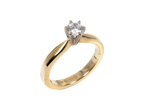 18ct yellow gold diamond solitaire ring 0.39ct