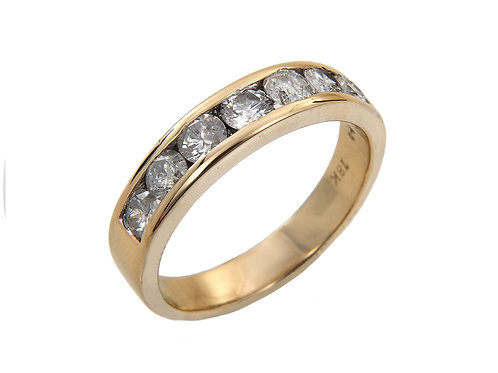 18ct Yellow Gold Diamond Half Eternity Ring 1.00ct