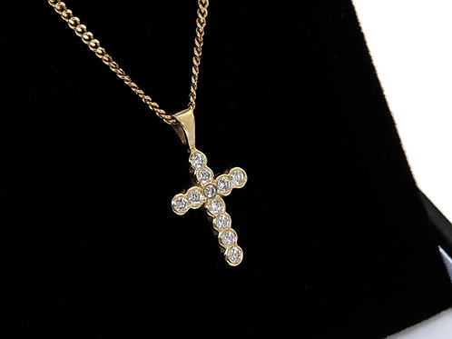 18ct Yellow Gold Diamond Cross & Chain 0.20ct