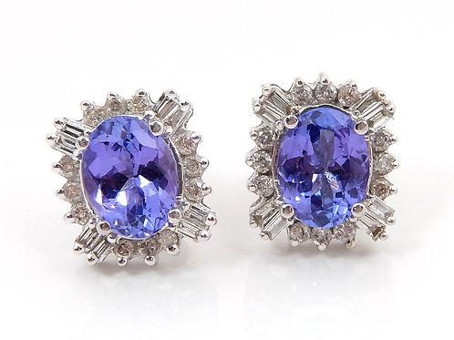 14ct White Gold Diamond & Tanzanite Earrings 2.8ct