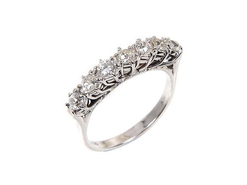 18ct White Gold Diamond Half Eternity Ring 0.95 ct