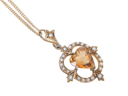 Antique 9ct Yellow Gold Seed Pearl & Citrine Sweet Heart Necklace