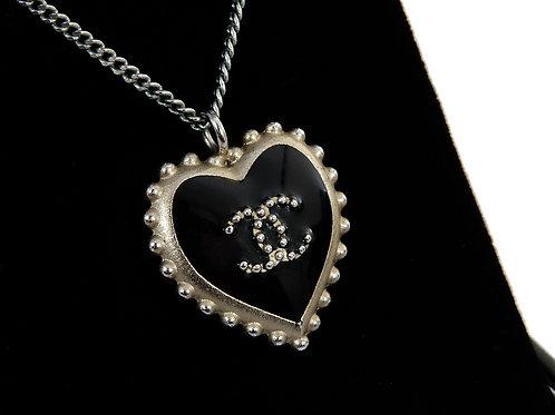 Vintage Chanel Enameled Heart Pendant & Chain