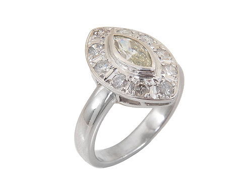 18ct White Gold Marquise Diamond Ring 1.00ct