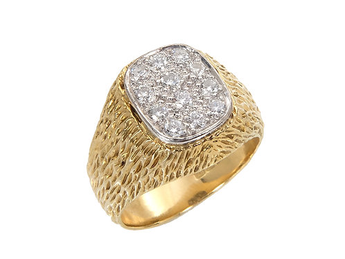 Gents Heavy 18ct Yellow Gold Diamond Ring 0.33ct