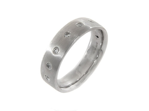 Gents Brushed Platinum full diamond Ring