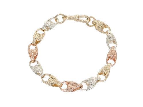 9ct Tri-Gold Patterned Tulip Bracelet 28g