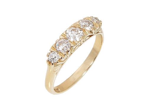 Vintage 18ct Yellow Diamond 5 Stone Ring 0.50ct