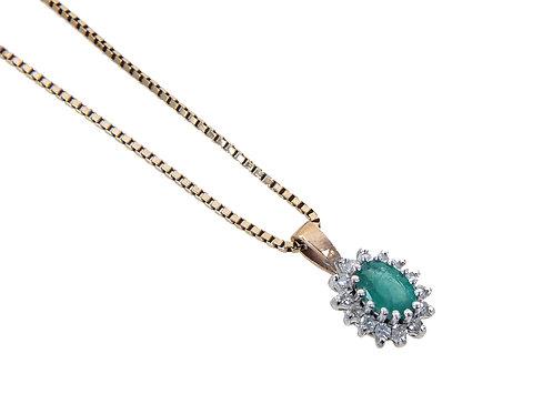 9ct Yellow Gold Diamond & Emerald Pendant & Chain
