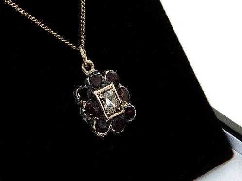 Georgian 9ct yellow Gold Diamond & Garnet Pendant & Chain