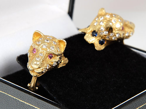 18ct Yellow Gold Leopards Head Earrings with Diamonds