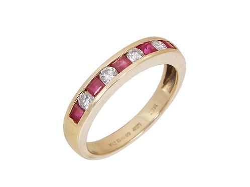 18ct Yellow Gold Ruby & Diamond Eternity Ring