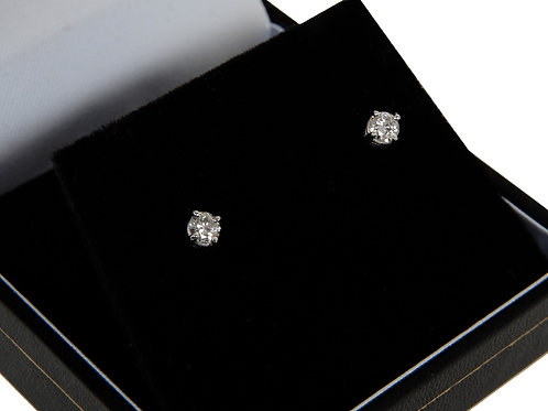 9ct White Gold Diamond Solitaire Earrings 0.40ct