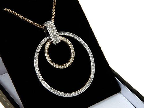 Diamond Circle of Life Necklace 1.00ct Yellow & White Gold .