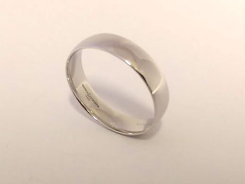 18ct white gold plain wedding ring 4.9mm Size T