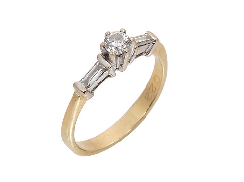18ct Yellow Gold Art Deco Style Diamond Solitaire Ring 0.22ct